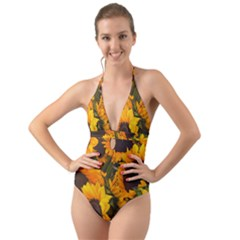 Sunflowers Halter Cut Out One Piece Swimsuit