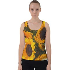 Sunflowers Velvet Tank Top