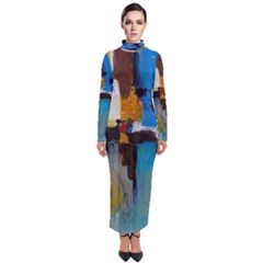 Abstract Turtleneck Maxi Dress