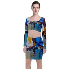 Abstract Long Sleeve Crop Top & Bodycon Skirt Set