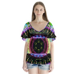 Social Media Rave Apparel V Neck Flutter Sleeve Top by TheExistenceOfNeon2018