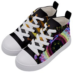 Crowned Existence Of Neon Kid s Mid Top Canvas Sneakers by TheExistenceOfNeon2018