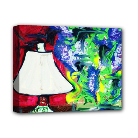Lilac, Lamp And Curtain Window 2 Deluxe Canvas 14  X 11  by bestdesignintheworld