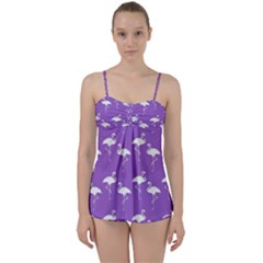 Flamingos Pattern White Purple Babydoll Tankini Set by CrypticFragmentsColors