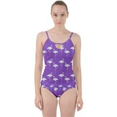 Flamingos Pattern White Purple Cut Out Top Tankini Set by CrypticFragmentsColors