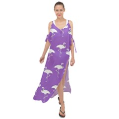Flamingos Pattern White Purple Maxi Chiffon Cover Up Dress by CrypticFragmentsColors