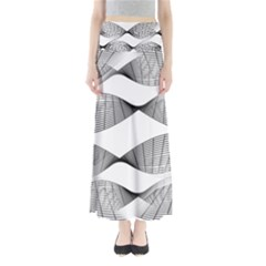 Curves Pattern Black On White Full Length Maxi Skirt by CrypticFragmentsColors
