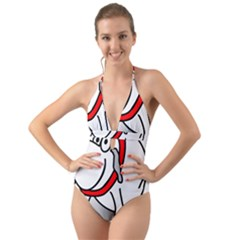 Dog Animal Pet Grin Sit Happy Halter Cut Out One Piece Swimsuit
