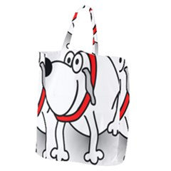Dog Animal Pet Grin Sit Happy Giant Grocery Zipper Tote