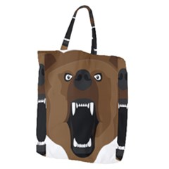 Bear Brown Set Paw Isolated Icon Giant Grocery Zipper Tote