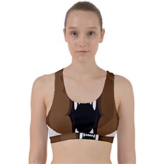 Bear Brown Set Paw Isolated Icon Back Weave Sports Bra