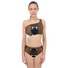 Bear Brown Set Paw Isolated Icon Spliced Up Two Piece Swimsuit