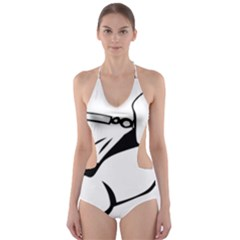 Dog Leash Lead Running Animal Cut Out One Piece Swimsuit