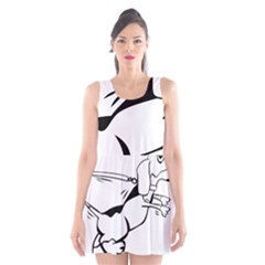 Dog Leash Lead Running Animal Scoop Neck Skater Dress