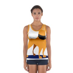 Stub Illustration Cute Animal Dog Sport Tank Top