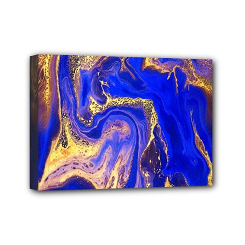 Blue Gold Marbled Mini Canvas 7  X 5  by 8fugoso