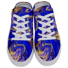 Blue Gold Marbled Half Slippers