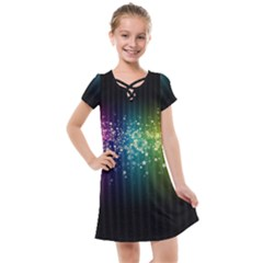 Colorful Space Rainbow Stars Kids  Cross Web Dress Clone