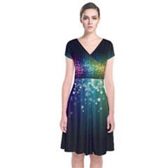 Colorful Space Rainbow Stars Short Sleeve Front Wrap Dress Clone by LoolyElzayat