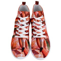 Pink Flamingo Flock Pattern Men s Lightweight High Top Sneakers by CrypticFragmentsColors