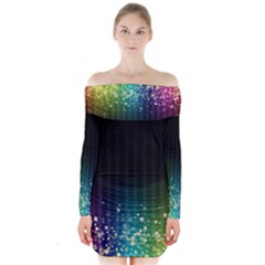 Colorful Space Rainbow Stars Long Sleeve Off Shoulder Dress