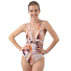 Pink Flamingos Flock Halter Cut Out One Piece Swimsuit by CrypticFragmentsColors