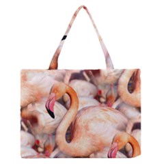 Pink Flamingos Flock Zipper Medium Tote Bag by CrypticFragmentsColors