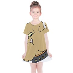 Bulldog Dog Head Canine Pet Kids  Simple Cotton Dress by Nexatart