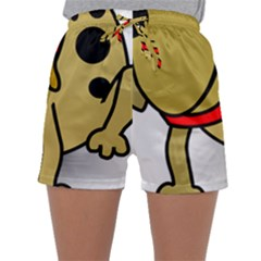 Dog Brown Spots Black Cartoon Sleepwear Shorts