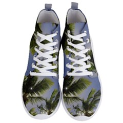 Palm Trees Tropical Beach Scenes Coastal   Men s Lightweight High Top Sneakers
