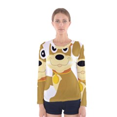 Dog Doggie Bone Dog Collar Cub Women s Long Sleeve Tee