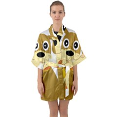 Dog Doggie Bone Dog Collar Cub Quarter Sleeve Kimono Robe