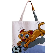 Cat Ball Play Funny Game Playing Zipper Grocery Tote Bag by Nexatart
