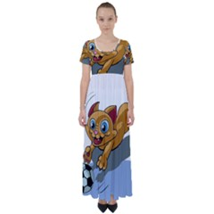Cat Ball Play Funny Game Playing High Waist Short Sleeve Maxi Dress