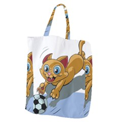 Cat Ball Play Funny Game Playing Giant Grocery Zipper Tote