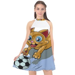 Cat Ball Play Funny Game Playing Halter Neckline Chiffon Dress