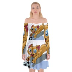 Cat Ball Play Funny Game Playing Off Shoulder Skater Dress