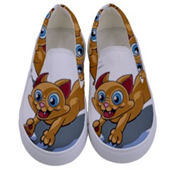 Cat Ball Play Funny Game Playing Kids  Canvas Slip Ons