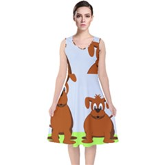 Animals Dogs Mutts Dog Pets V Neck Midi Sleeveless Dress