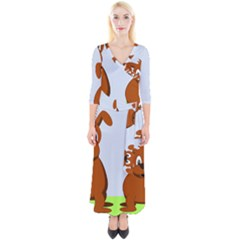 Animals Dogs Mutts Dog Pets Quarter Sleeve Wrap Maxi Dress
