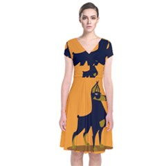 Illustration Silhouette Art Mammals Short Sleeve Front Wrap Dress