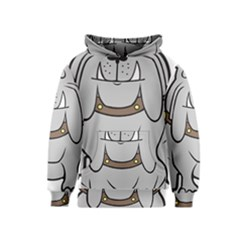 Gray Happy Dog Bulldog Pet Collar Kids  Pullover Hoodie