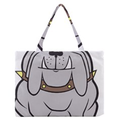 Gray Happy Dog Bulldog Pet Collar Zipper Medium Tote Bag by Nexatart