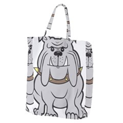 Gray Happy Dog Bulldog Pet Collar Giant Grocery Zipper Tote