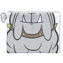 Gray Happy Dog Bulldog Pet Collar Canvas Cosmetic Bag (xxl)