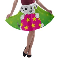 Dalmatians Dog Puppy Animal Pet A Line Skater Skirt