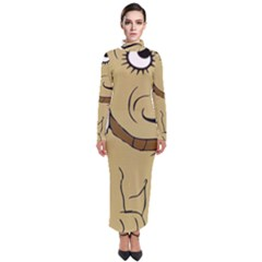 Dog Cute Sitting Puppy Pet Turtleneck Maxi Dress