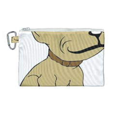 Dog Cute Sitting Puppy Pet Canvas Cosmetic Bag (large) by Nexatart