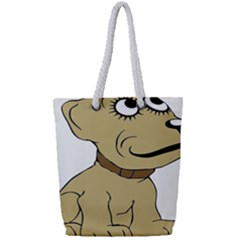 Dog Cute Sitting Puppy Pet Full Print Rope Handle Tote (small)