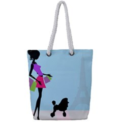 Woman Girl Lady Female Young Full Print Rope Handle Tote (small)